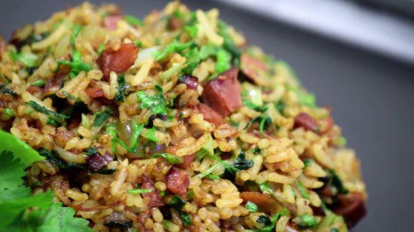 Stir fry  rice  gammon video