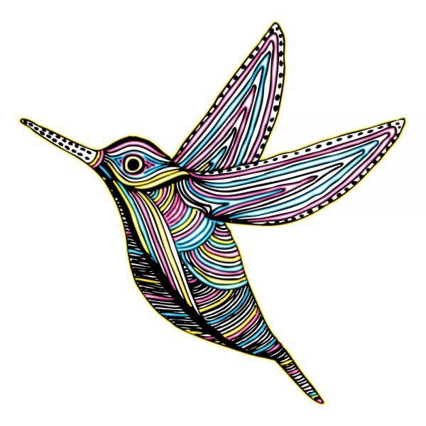 CMYK Colibri Bird Flying vector