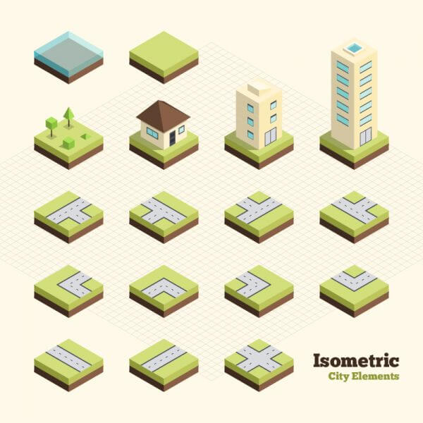 Isometric City Elements vector