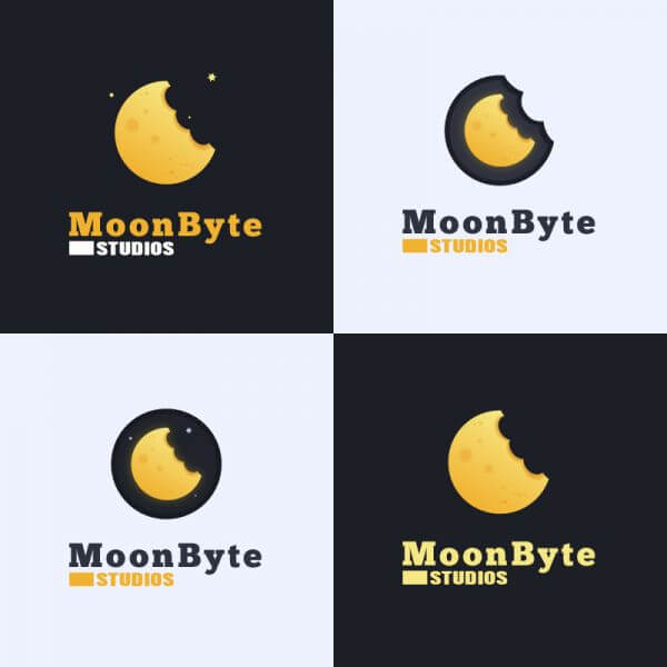 Moon Byte Logo Design vector