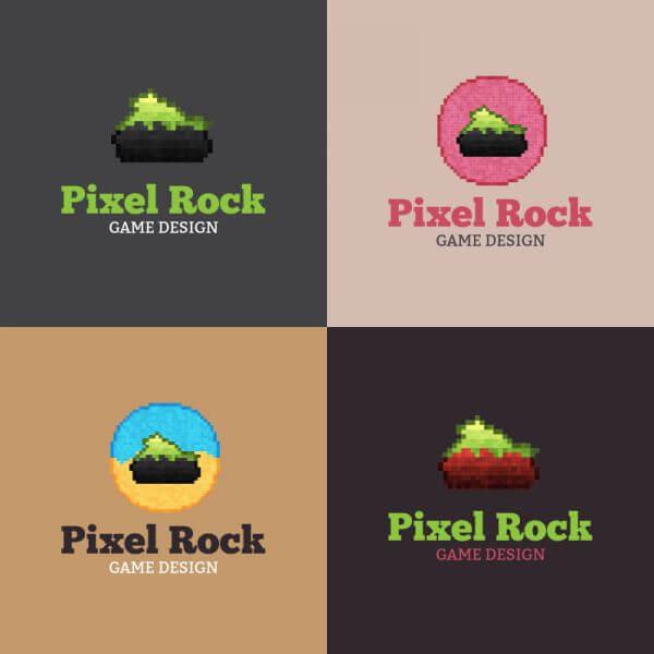 Pixel Rock Logo Design vector