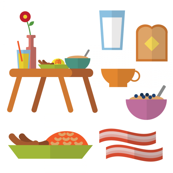 Breakfast in bed with different types of meals vector