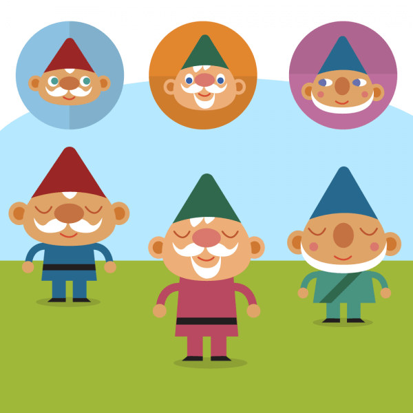 Cute Gnomes on lawn vector set vector
