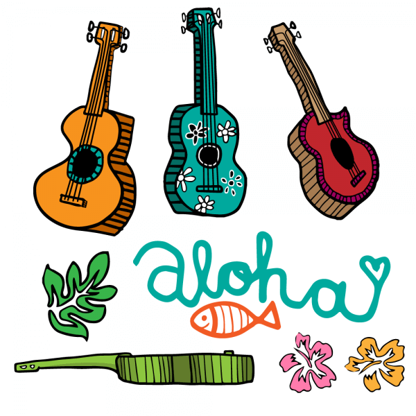 Colorful Cartoon Ukulele Vectors vector
