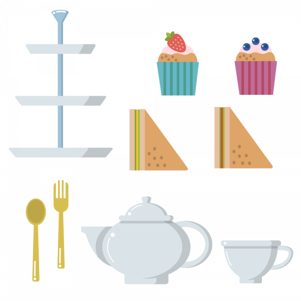 Tea time pot cup muffin sandwich vector set vector