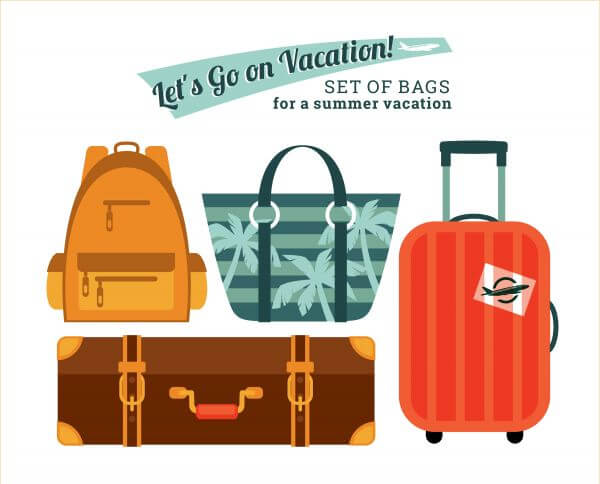 Illustration bags for holidays vector