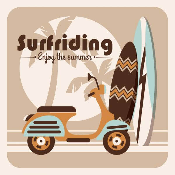 Illustration of surfriding. vector