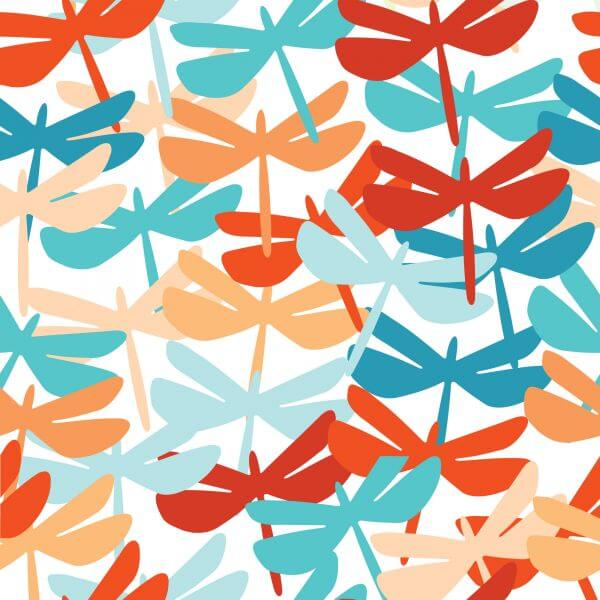 Summer seamless background with dragonfly. vector