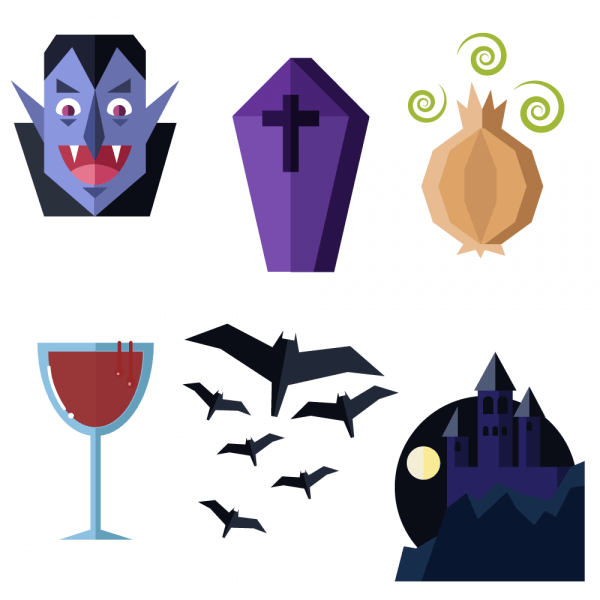 Dracula themed vector set vector