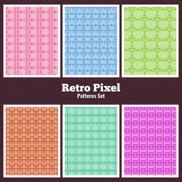 Retro Pixel Patterns Set vector
