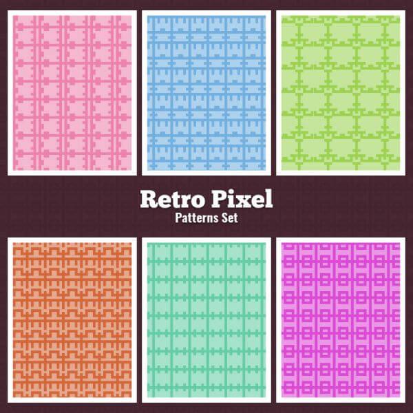 Retro Pixel Patterns Set vector
