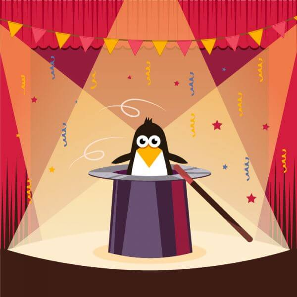 Cute penguin on the stage vector