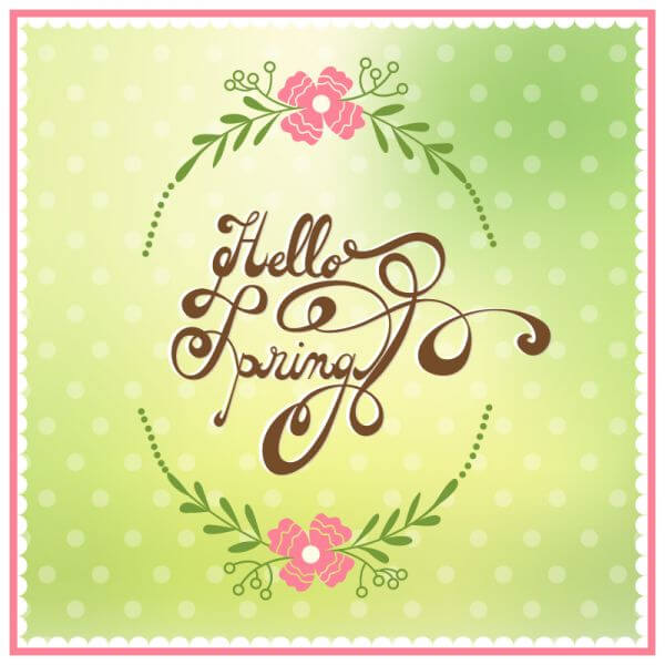 Spring illustration with floral frame vector
