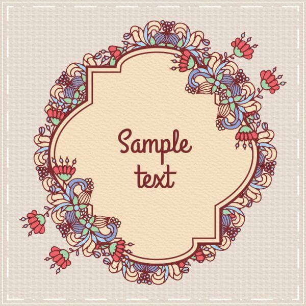 Doodle floral illustration with frame vector
