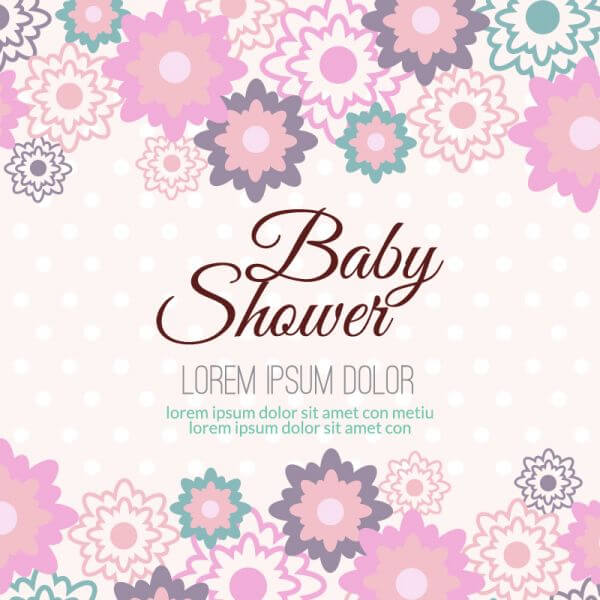 Baby shower with floral background vector