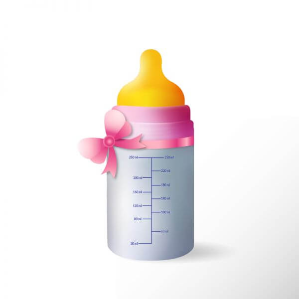 Baby bottle with cute ribbon vector