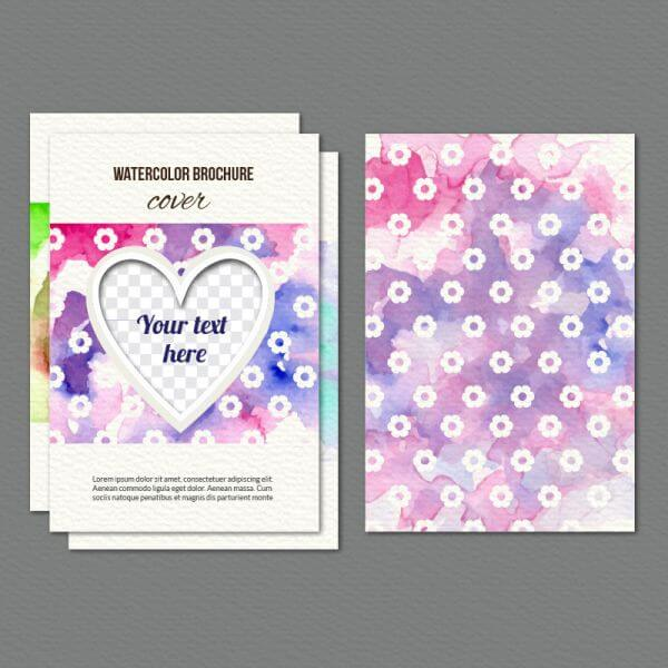 Watercolor cover with flowers and heart vector