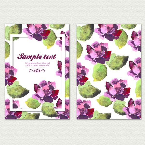 Watercolor cover with flowers vector