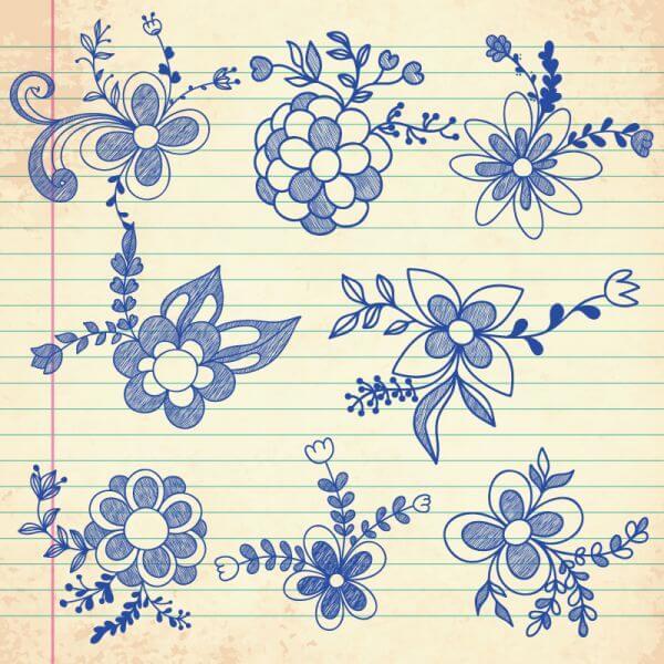 Set of doodle flowers vector