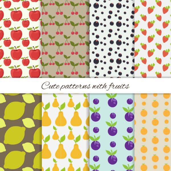 Set of cute patterns with fruits vector