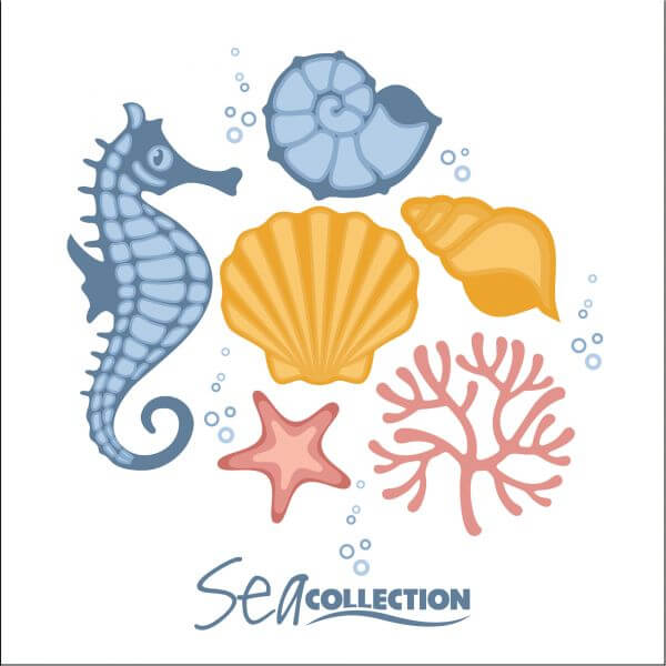 Vector set of sea fauna.  vector