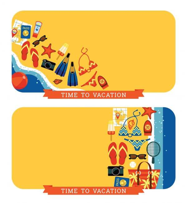Vector modern flat design illustration of traditional summer vacation. vector