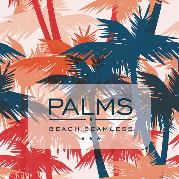 Vector seamless pattern with palm trees vector