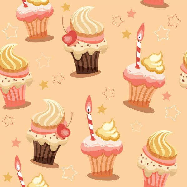 Sweet seamless background with cakes vector