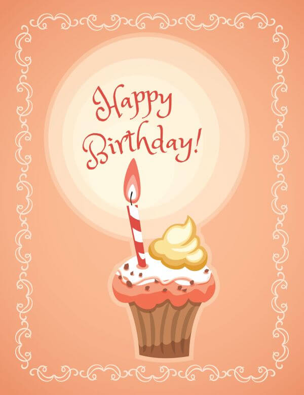Happy Birthday illustration with cakes vector