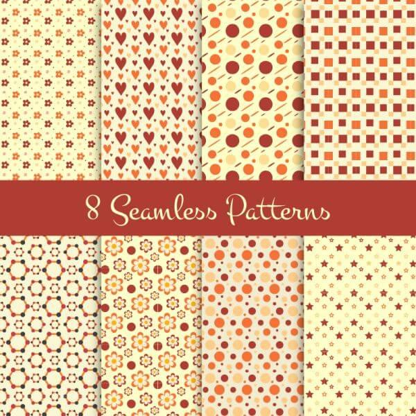 8 Seamless Patterns vector