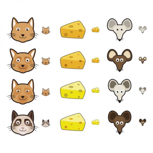 Cat and Mouse Icons vector