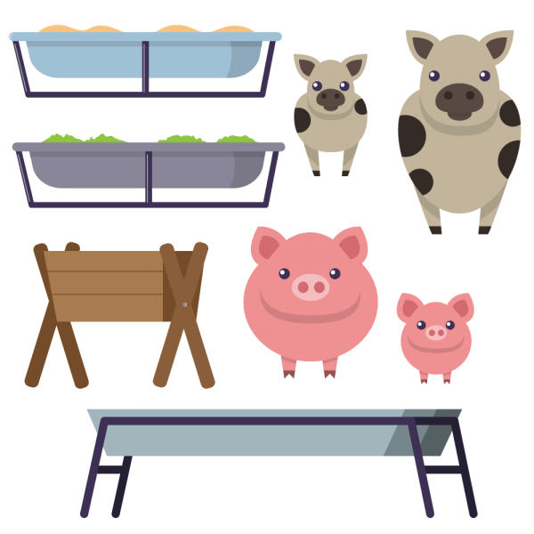 Feeding trough with cows and pigs vector