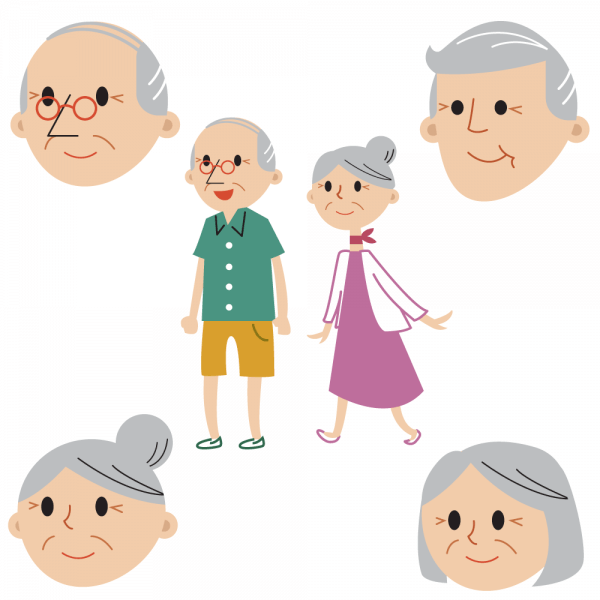 Senior couple full body and faces vector