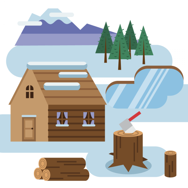 Log cabin in snowy landscape vector