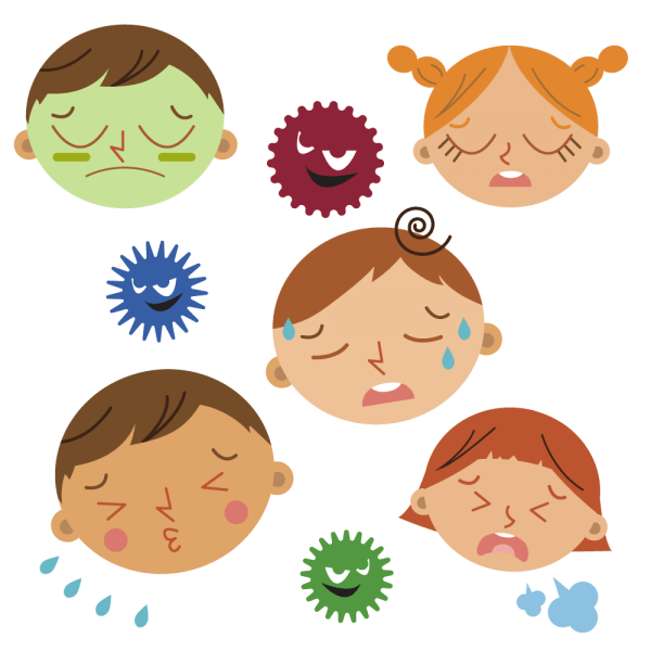 Sick child and bacteria vector
