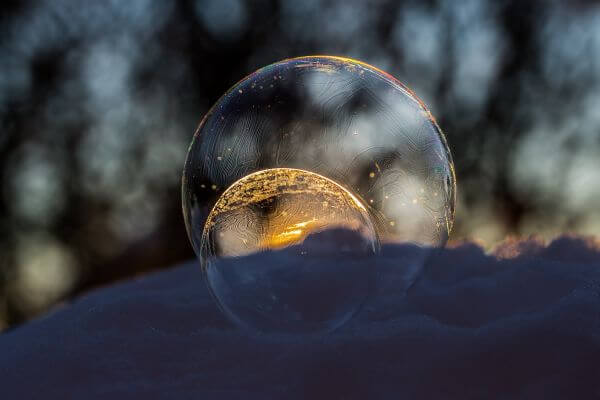 Crystal Ball Against Blurred Background photo