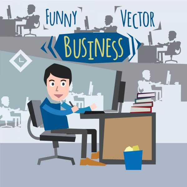 Some businessman character sitting at computer. Free for vector design vector
