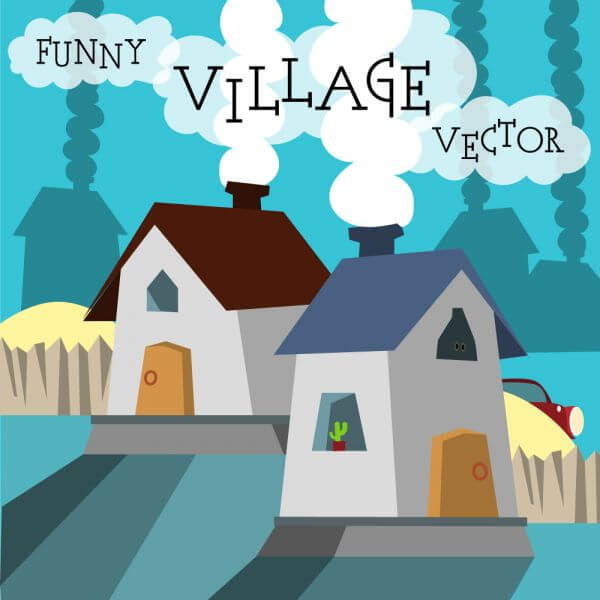 Funny vector night village illustration. Free for vector design vector
