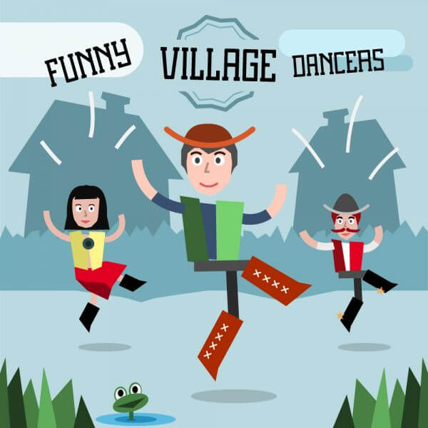 Some village people dancing. Three different characters in similar pose. Free for vector design vector