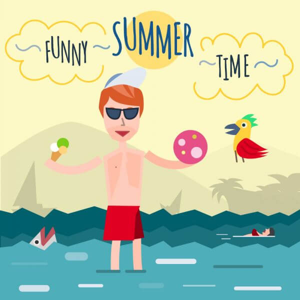 Funny young man in sea. It's holiday time. Some object is ice-cream and ball. Free for vector design vector