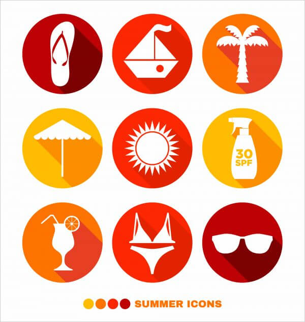 Summer abstract icons set vector