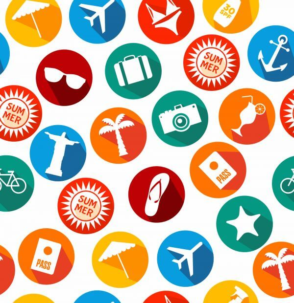 Summer icons background of bright icons vector