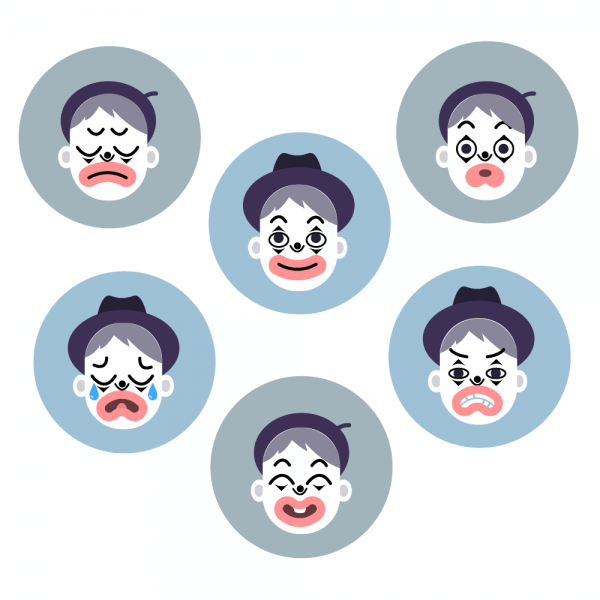 Mime emotion faces vector