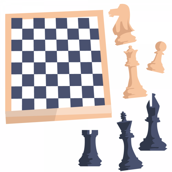 Chess board with figures vector
