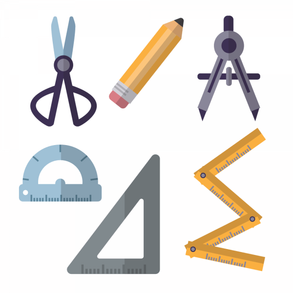 Architecture tools flat vector set vector