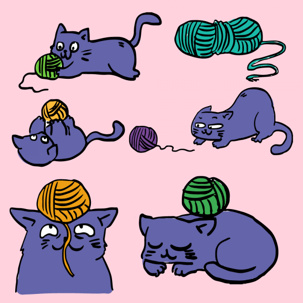 Cat playing with ball of yarn vector