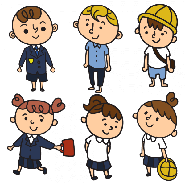 School children in uniform vector