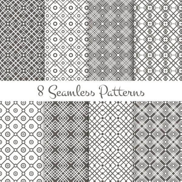 Black and white geometrical patterns set vector