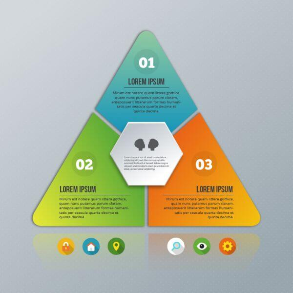 Pyramid infographic on the grey background vector
