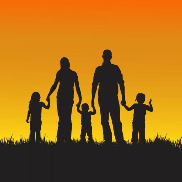 Family with children silhouette illustration vector